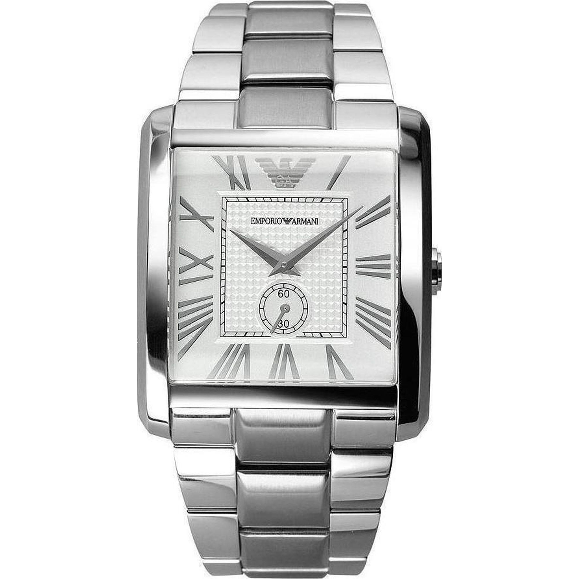 ρολόι, ρολόγια, Emporio Armani, Ανδρικό ρολόι, Δωρεάν μεταφορικά, Emporio Armani Τετράγωνο με Ασημί Καντράν AR1643