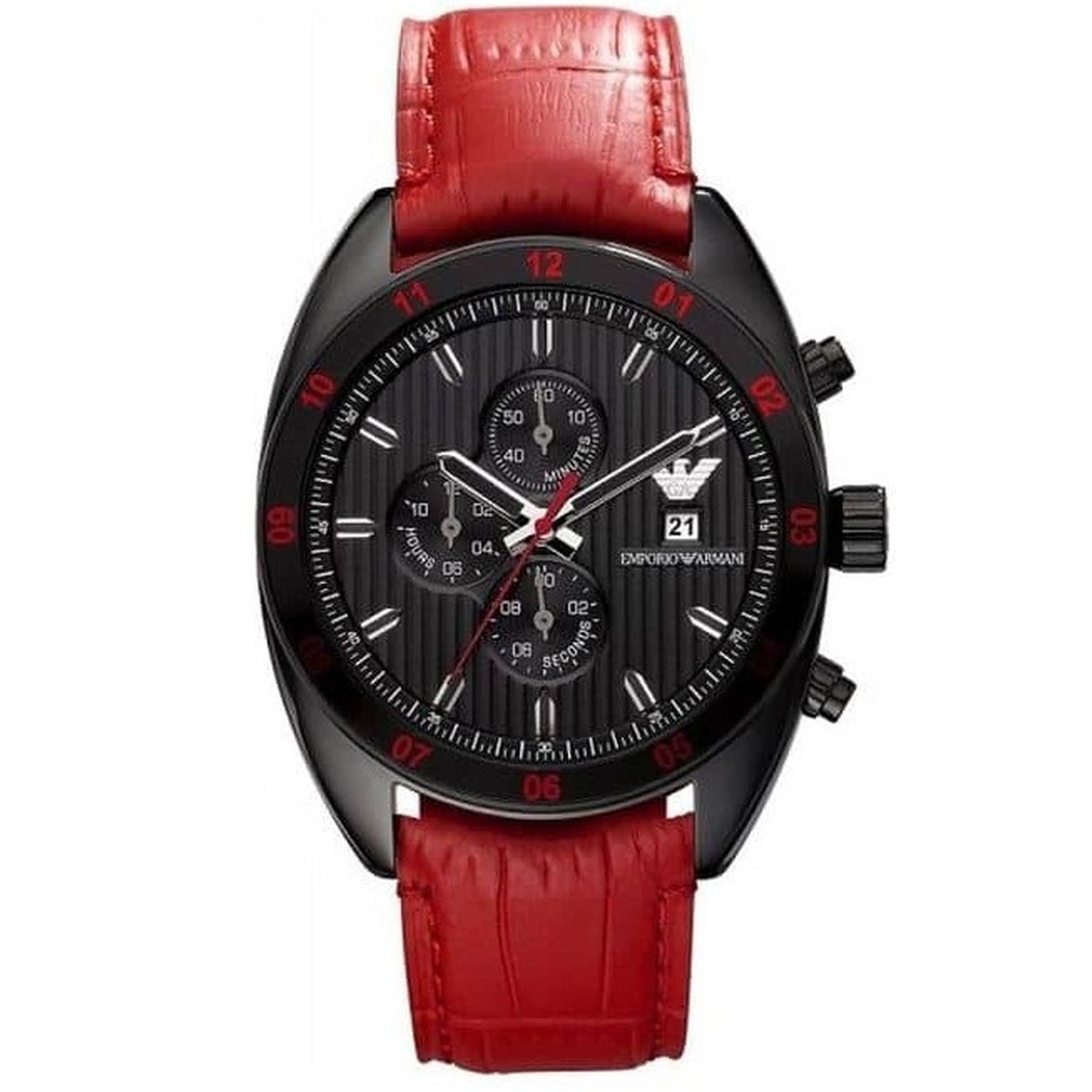 Emporio Armani με Μαύρο Καντράν και Κόκκινο Λουράκι AR5918, ρολόι, ρολόγια, Emporio Armani, Ανδρικό ρολόι, Δωρεάν μεταφορικά