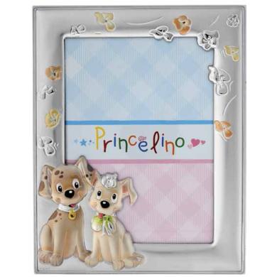 Princelino Παιδική Ασημένια Κορνίζα με Σκυλάκια