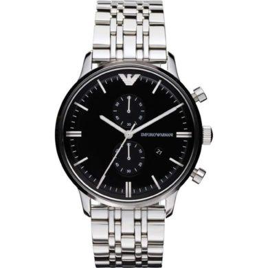 Emporio Armani με Μαύρο/Ασημί Καντράν AR0389 , ρολόι, ρολόγια, Emporio Armani, Ανδρικό ρολόι, Δωρεάν μεταφορικά