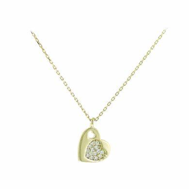 Κολιέ Κίτρινο Κ14 σε Σχήμα Καρδιάς