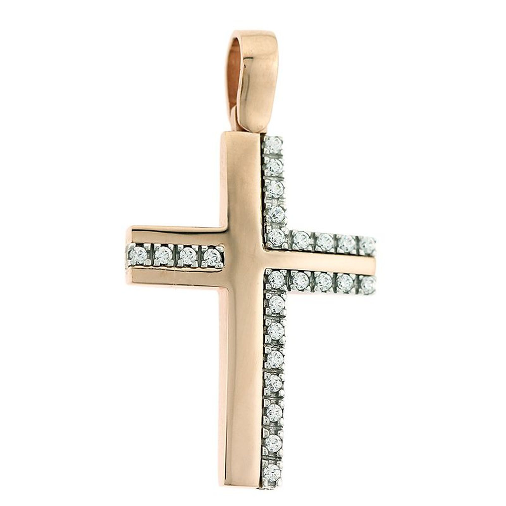 Γυναικείος Δίχρωμος Σταυρός με Πέτρες