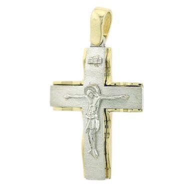 Δίχρωμος Ανδρικός Σταυρός με τον Ενσταυρωμένο