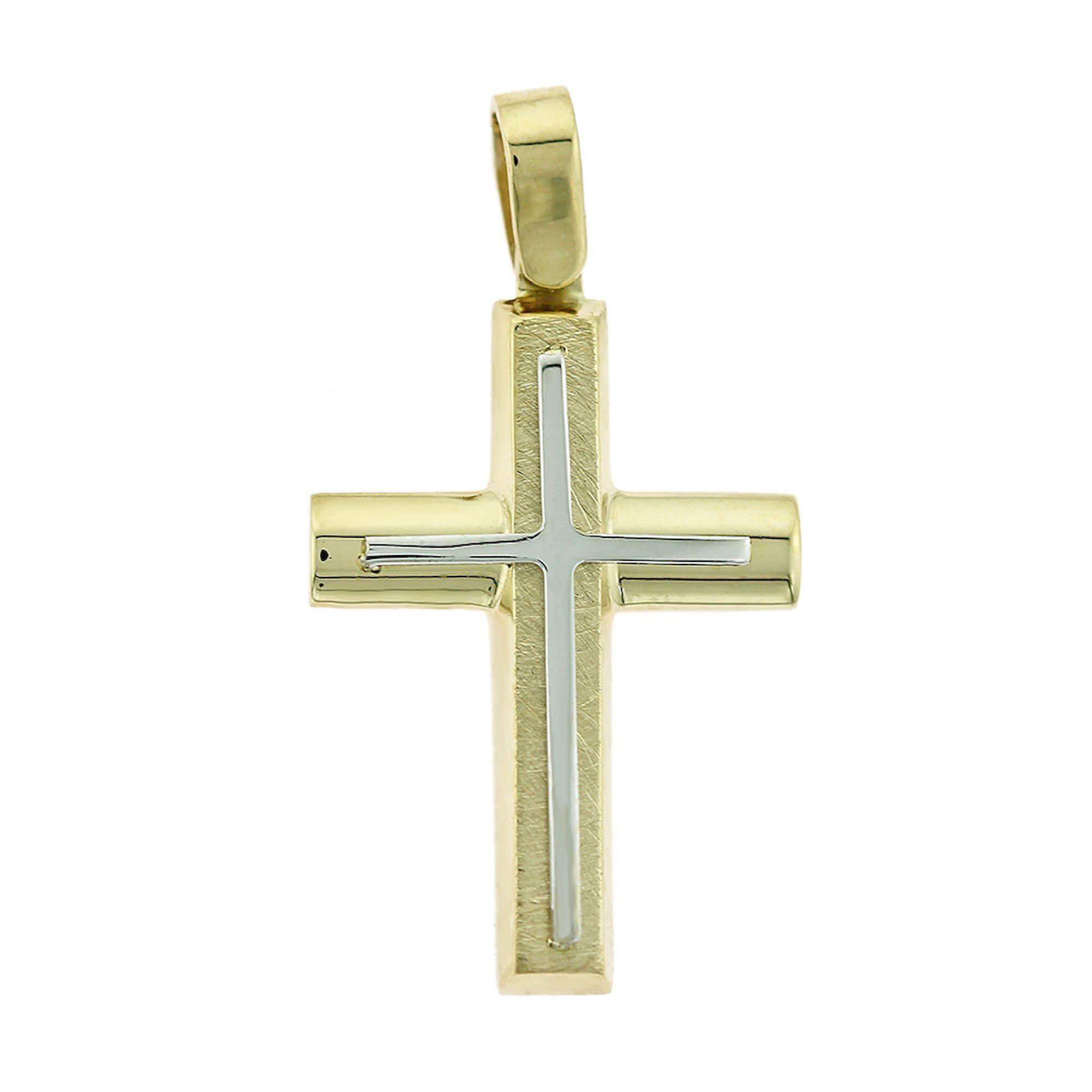 Δίχρωμος Ανδρικός Σταυρός 14 Καράτια