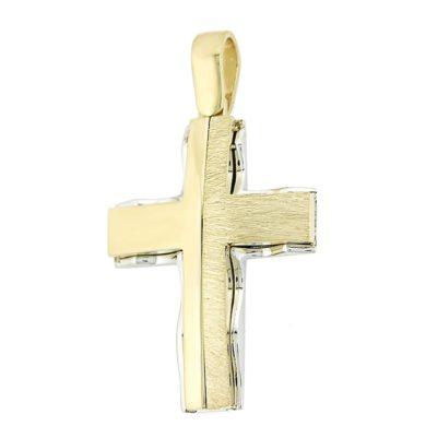Δίχρωμος Ανδρικός Σταυρός 14 Καράτια + Αλυσίδα