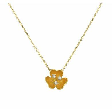 Κολιέ Κίτρινο με Λουλούδι 9 Καράτια