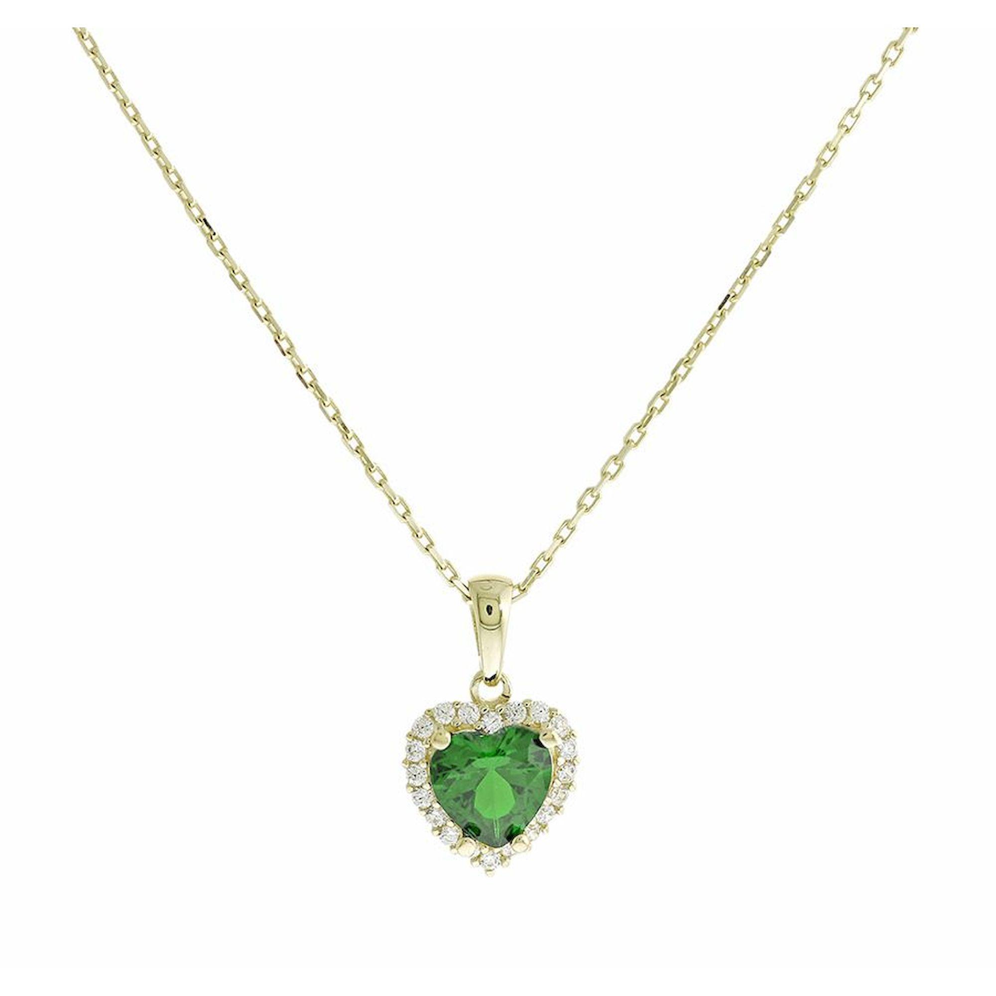 Κολιέ Κ14 Ροζέτα με Πράσινη Πέτρα σε Σχήμα Καρδιάς