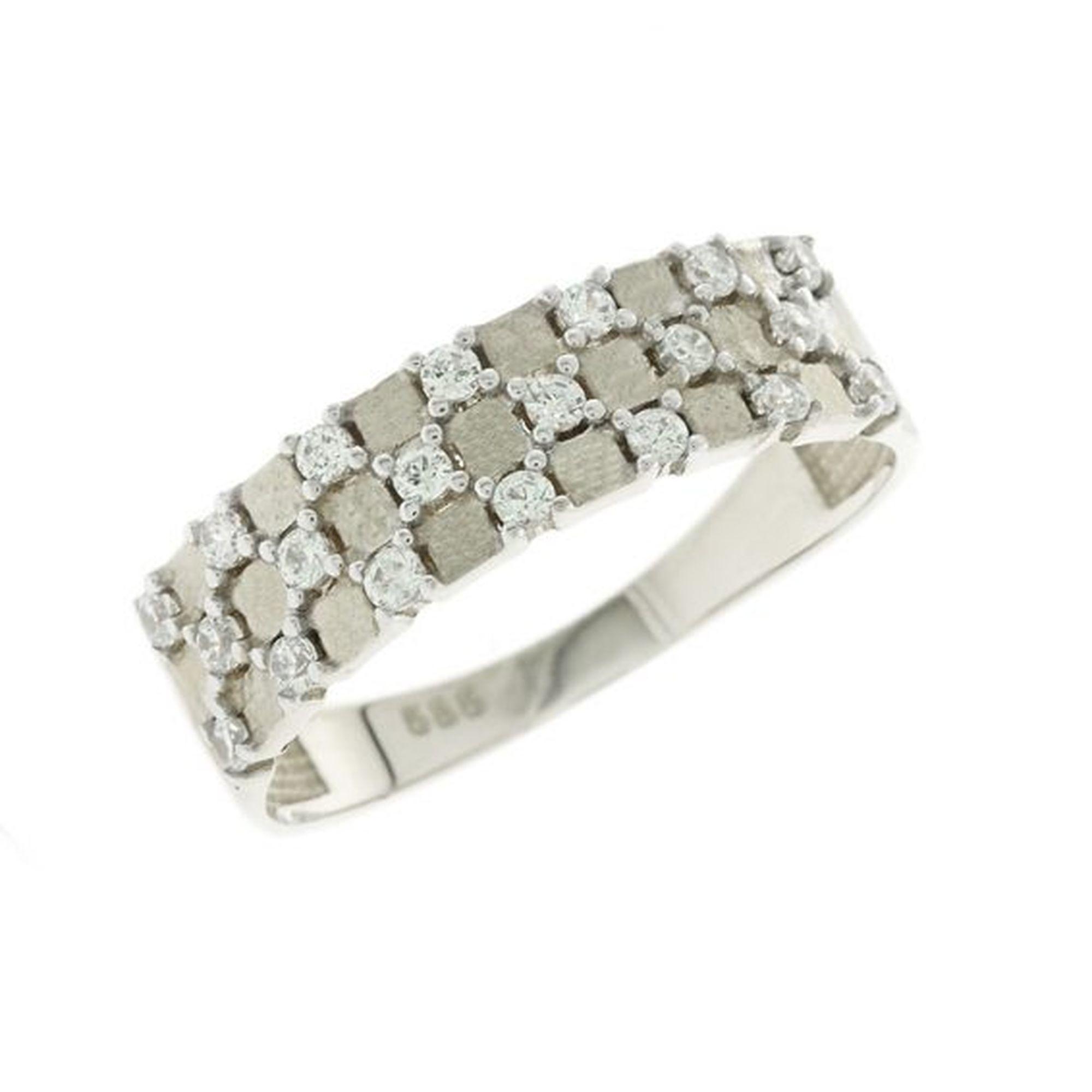 Δαχτυλίδι χρυσό με λευκές ζιργκόν 052871