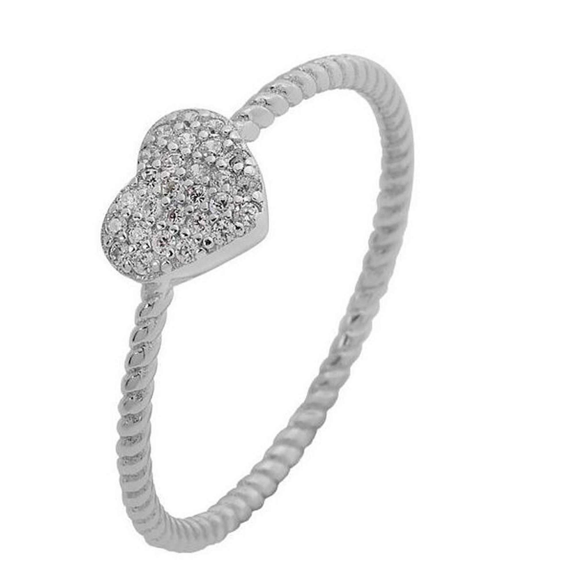 Ασημένιο Δαχτυλίδι σε Σχήμα Καρδιάς Λευκό