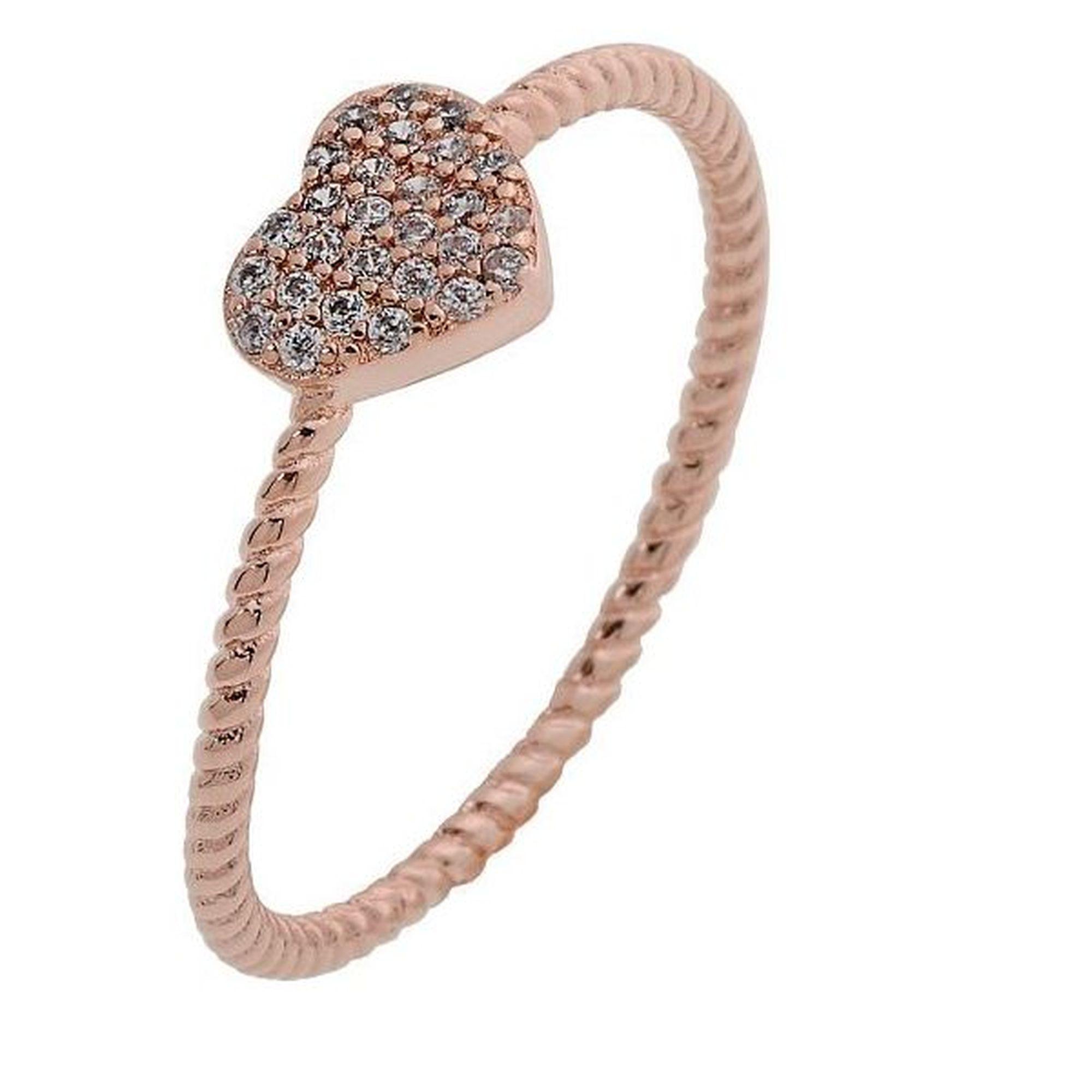Ασημένιο Δαχτυλίδι σε Σχήμα Καρδιάς Ροζ
