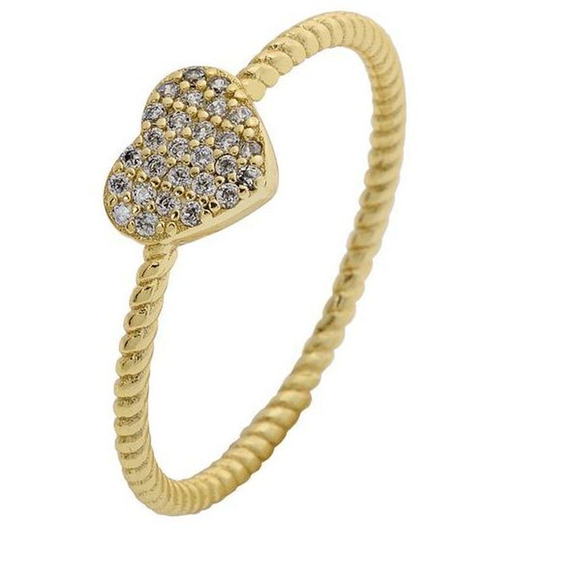 Ασημένιο Δαχτυλίδι σε Σχήμα Καρδιάς Κίτρινο