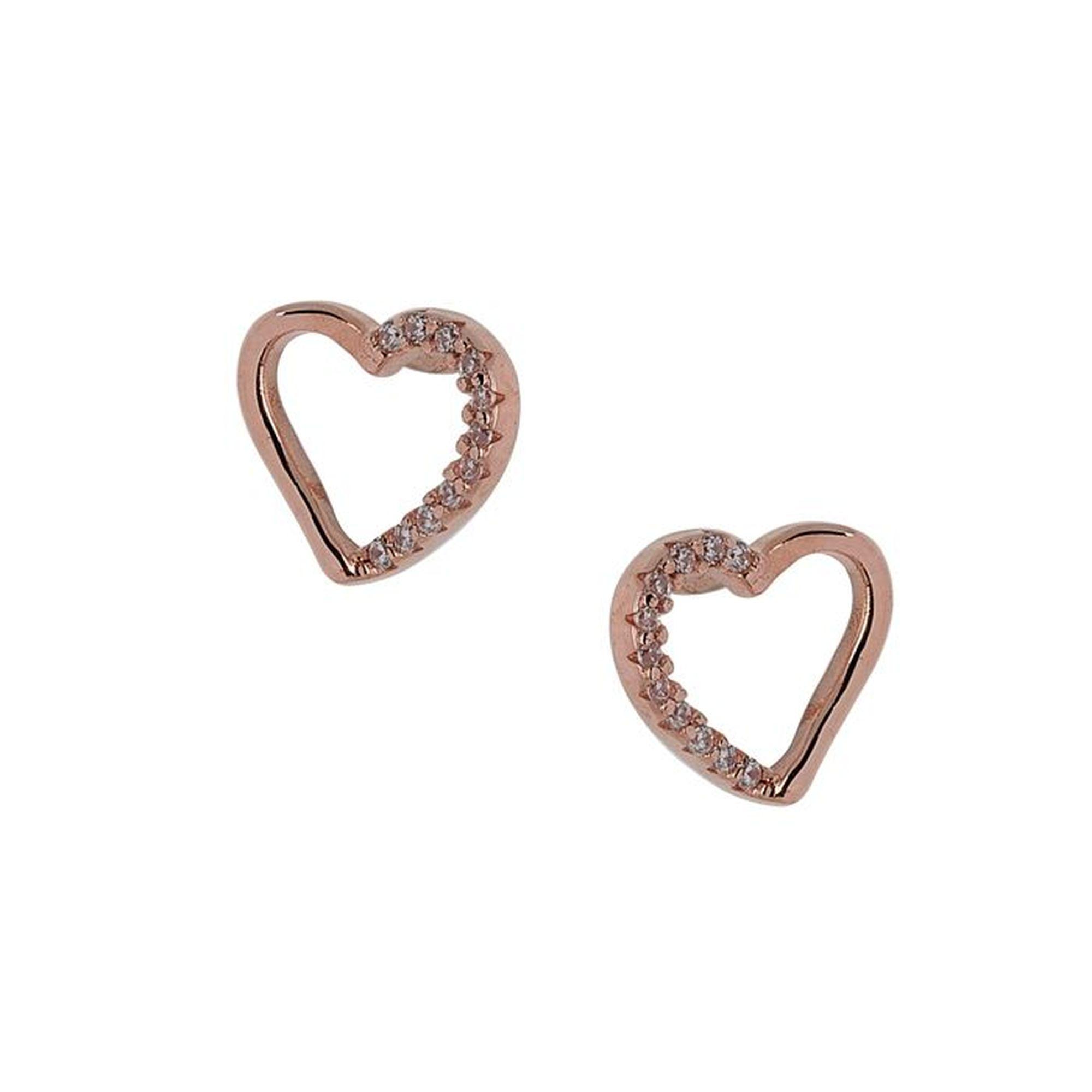 Ασημένια Σκουλαρίκια Καρδιά με Πέτρες