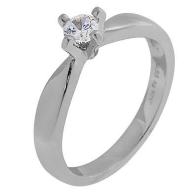 Ασημένιο Δαχτυλίδι Μονόπετρο / Λευκό