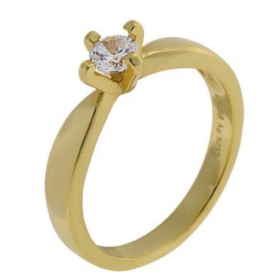 Ασημένιο Δαχτυλίδι Μονόπετρο / Κίτρινο