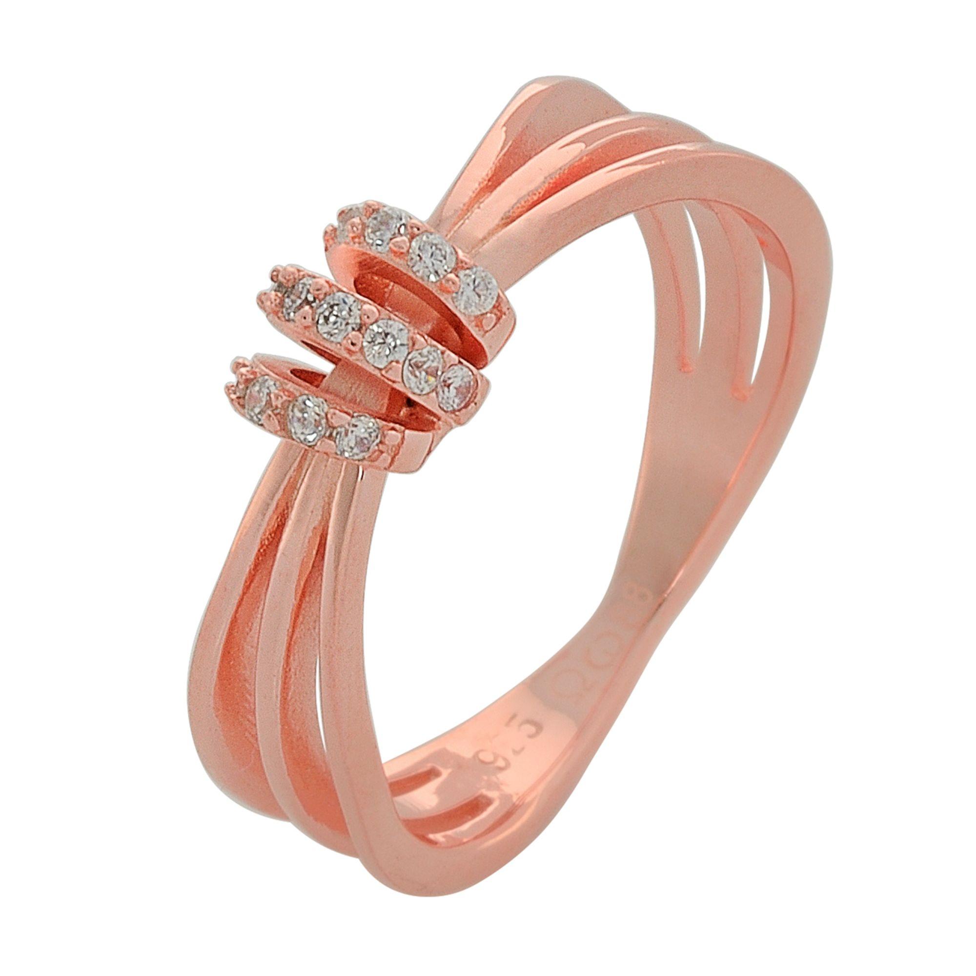 Ασημένιο Δαχτυλίδι σε Ροζ Gold με πέτρες Ζιργκόν