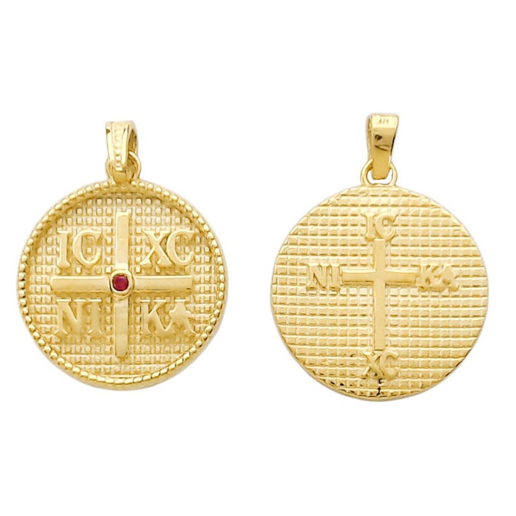 Παιδική Χρυσή Παραμάνα, Παναγία, Φυλαχτό για Νεογέννητα, Δώρο για Βάπτιση,, Χρυσό Φυλαχτό με Κόκκινη Πέτρα