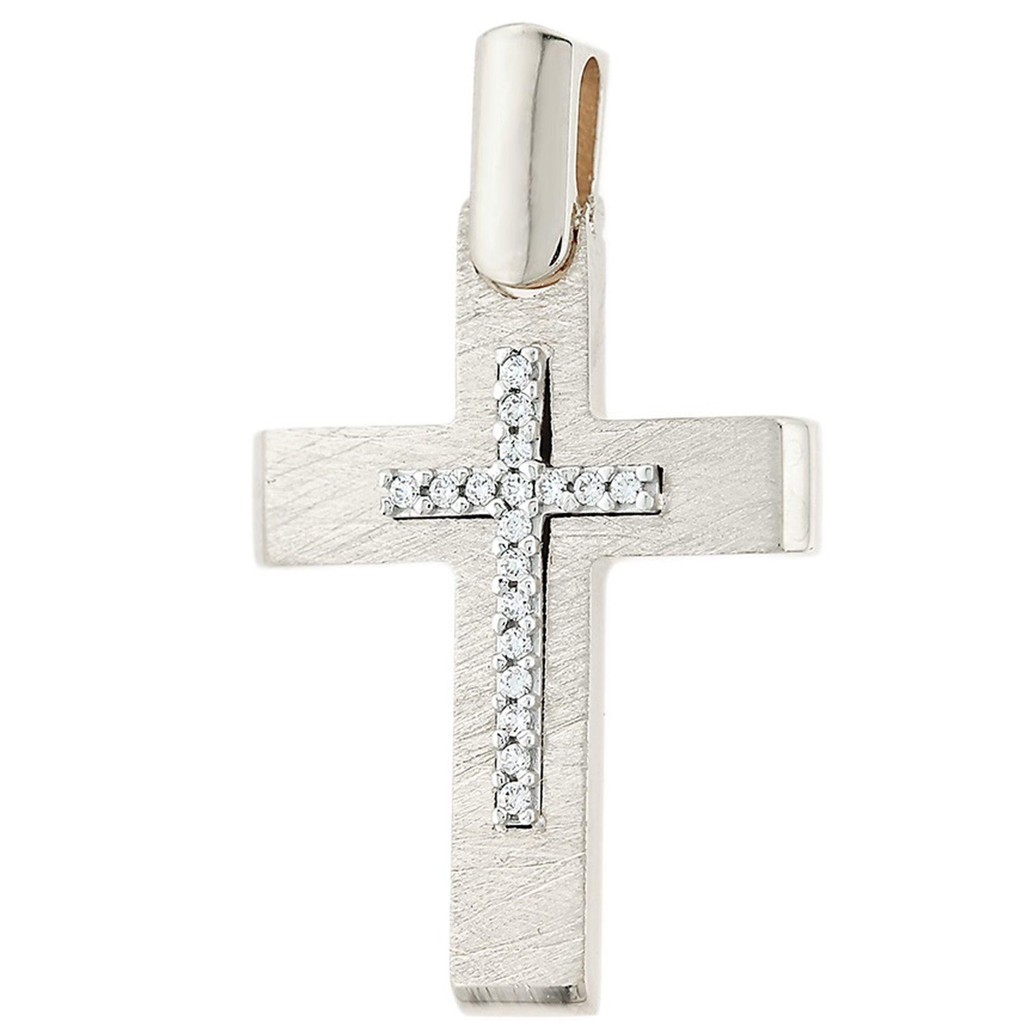 σταυρός,Γυναικείος Σταυρός Ματ με Πέτρες στον Κρίκο + Αλυσίδα σταυρός για βάπτιση, Γυναικείος σταυρόςμε πέτρες, Δωρεάν μεταφορικά, Σταυρός 14 καρατίων