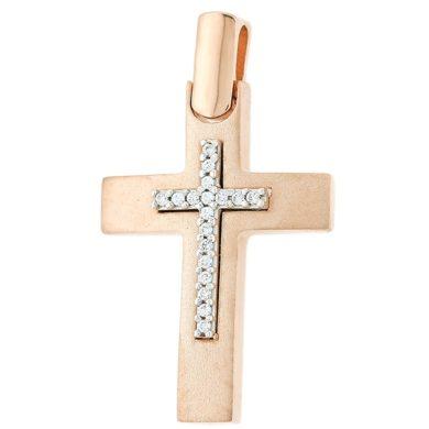 σταυρός, Γυναικείος Σταυρός Ματ με Πέτρες στον Κρίκο + Αλυσίδα ,σταυρός για βάπτιση, Γυναικείος σταυρόςμε πέτρες, Δωρεάν μεταφορικά, Σταυρός 14 καρατίων