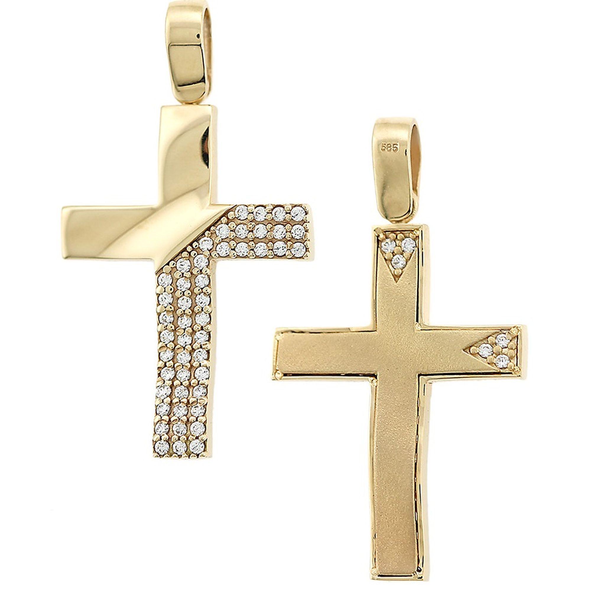 σταυρός, Γυναικείος Σταυρός Ματ με Πέτρες στον Κρίκο + Αλυσίδα σταυρός για βάπτιση, Γυναικείος σταυρόςμε πέτρες, Δωρεάν μεταφορικά, Σταυρός 14 καρατίων