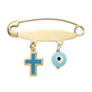 Χρυσή Παραμάνα με Ματι και Ροζ Πέτρες, Δώρο για νεογέννητο, Δώρο για βάπτιση, Δωρεάν μεταφορικά, άμεση διαθεσιμότητα