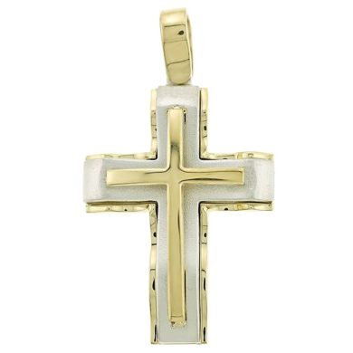 Ανδρικός Σταυρός Κίτρινος/Λευκός 14 Καράτια + Αλυσίδα