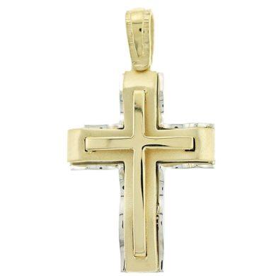 Ανδρικός Σταυρός Κίτρινος 14 Καράτια + Αλυσίδα