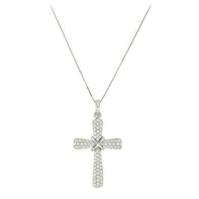 Γυναικειος Σταυρός με Λευκές Πέτρες 14 Καρατίωνκολιέ, χρυσό κολιέ, 14 καράτια, Κρεμαστό για τον λαιμό, κόσμημα, χρυσό κόσμημα, δωρεάν μεταφορικά