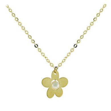 Κολιέ σε Λουλούδι με Μαργαριτάρι 14 Καράτια, κολιέ, χρυσό κολιέ, 14 καράτια, Κρεμαστό για τον λαιμό, κόσμημα, χρυσό κόσμημα, δωρεάν μεταφορικά