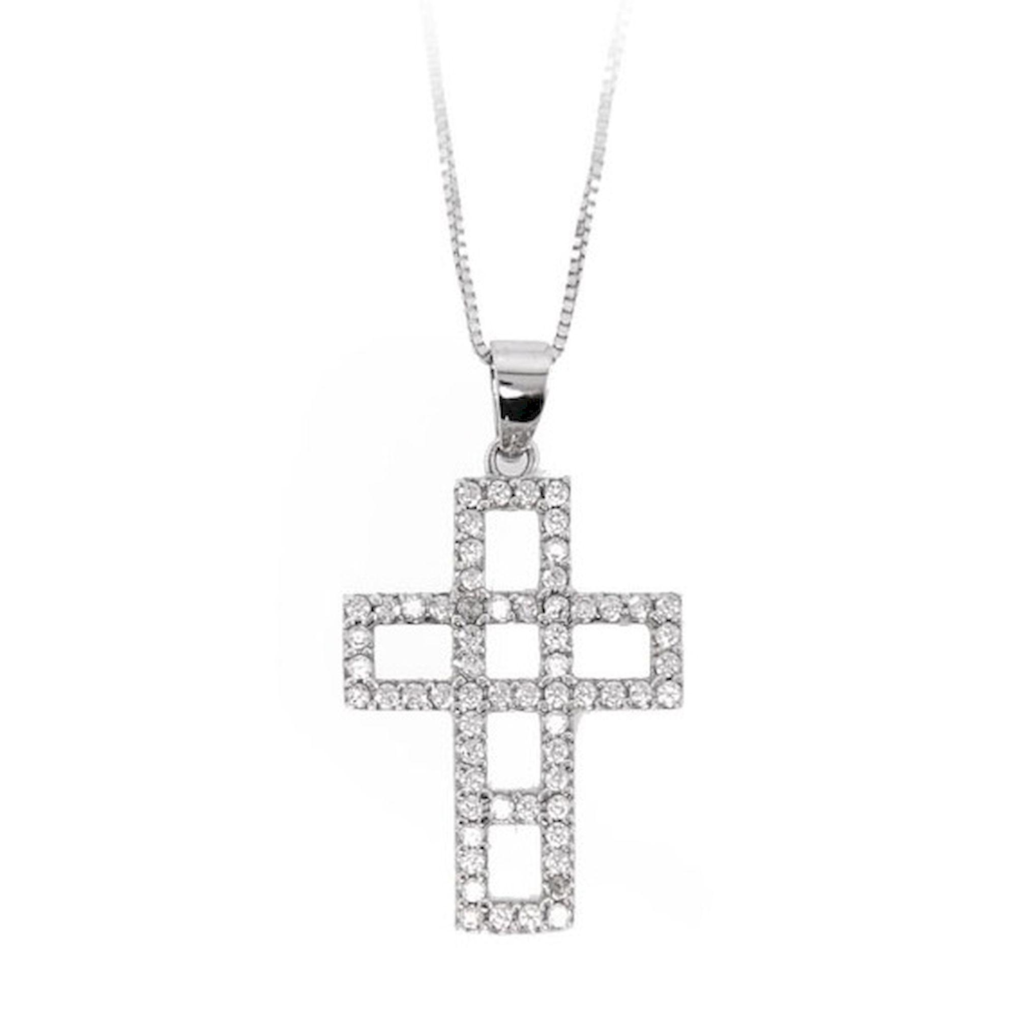 Γυναικειος Σταυρός με Πέτρες Λευκός 14 Καράτια, κολιέ, χρυσό κολιέ, 14 καράτια, Κρεμαστό για τον λαιμό, κόσμημα, χρυσό κόσμημα, δωρεάν μεταφορικά