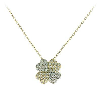 Χρυσό Κολιέ Τετράφυλλο Τριφύλλι με Πέτρες 14 Καράτια, κολιέ, χρυσό κολιέ, 14 καράτια, Κρεμαστό για τον λαιμό, κόσμημα, χρυσό κόσμημα, δωρεάν μεταφορικά