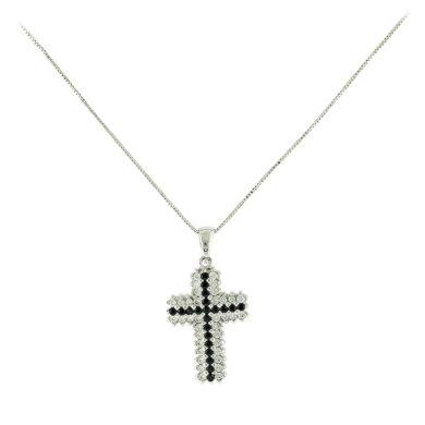 Γυναικειος Σταυρός με Λευκές και Μαύρες Πέτρες 14 Κ, κολιέ, χρυσό κολιέ, 14 καράτια, Κρεμαστό για τον λαιμό, κόσμημα, χρυσό κόσμημα, δωρεάν μεταφορικά