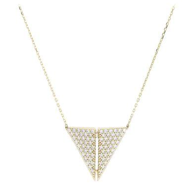 Κολιέ σε Τριγωνικό Σχήμα με Πέτρες 14 Καράτια, κολιέ, χρυσό κολιέ, 14 καράτια, Κρεμαστό για τον λαιμό, κόσμημα, χρυσό κόσμημα, δωρεάν μεταφορικά