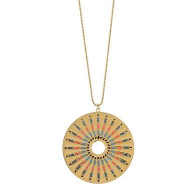 Κολιέ Visetti με Κύκλο και Χρωματιστές Πέτρες NI-WKD004G, κολιέ, Visetti, Γυναικεία Κολιέ Visetti,Δώρο για Γυναίκα, Καλοκαιρινά Κοσμήματα, Δωρεάν μεταφορικά
