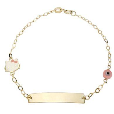 """Παιδική Ταυτότητα """"Kitty"""" σε Λευκό και Ροζ Σμάλτο 9 Καράτια , χρυσή ταυτότητα, παιδική ταυτότητα, Δώρο για Νεογέννητο, Παιδικό κόσμημα, Δωρεάν μεταφορικά"""