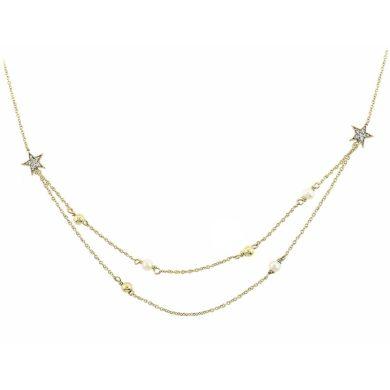 Χρυσό Κολιέ με Διπλή Αλυσίδα και Αστέρια 9 Καράτια , Κολιέ 9 Καρατίων, χρυσό κόσμημα, κολιέ, κόσμημα, Δωρεάν μεταφορικά