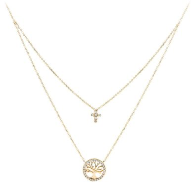 Κολιέ σε Διπλή Αλυσίδα με Δέντρο της Ζωής και Σταυρό 9 Καράτια, Κολιέ 9 Καρατίων, χρυσό κόσμημα, κολιέ, κόσμημα, Δωρεάν μεταφορικά