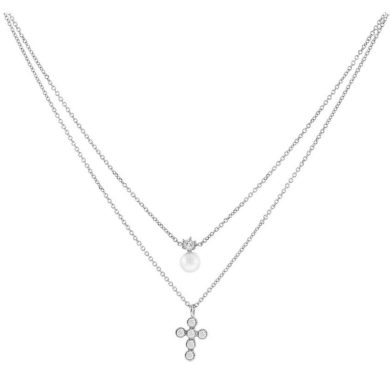 Κολιέ με Διπλή Αλυσίδα με Σταυρό και Μαργαριτάρι 9 Καράτια
