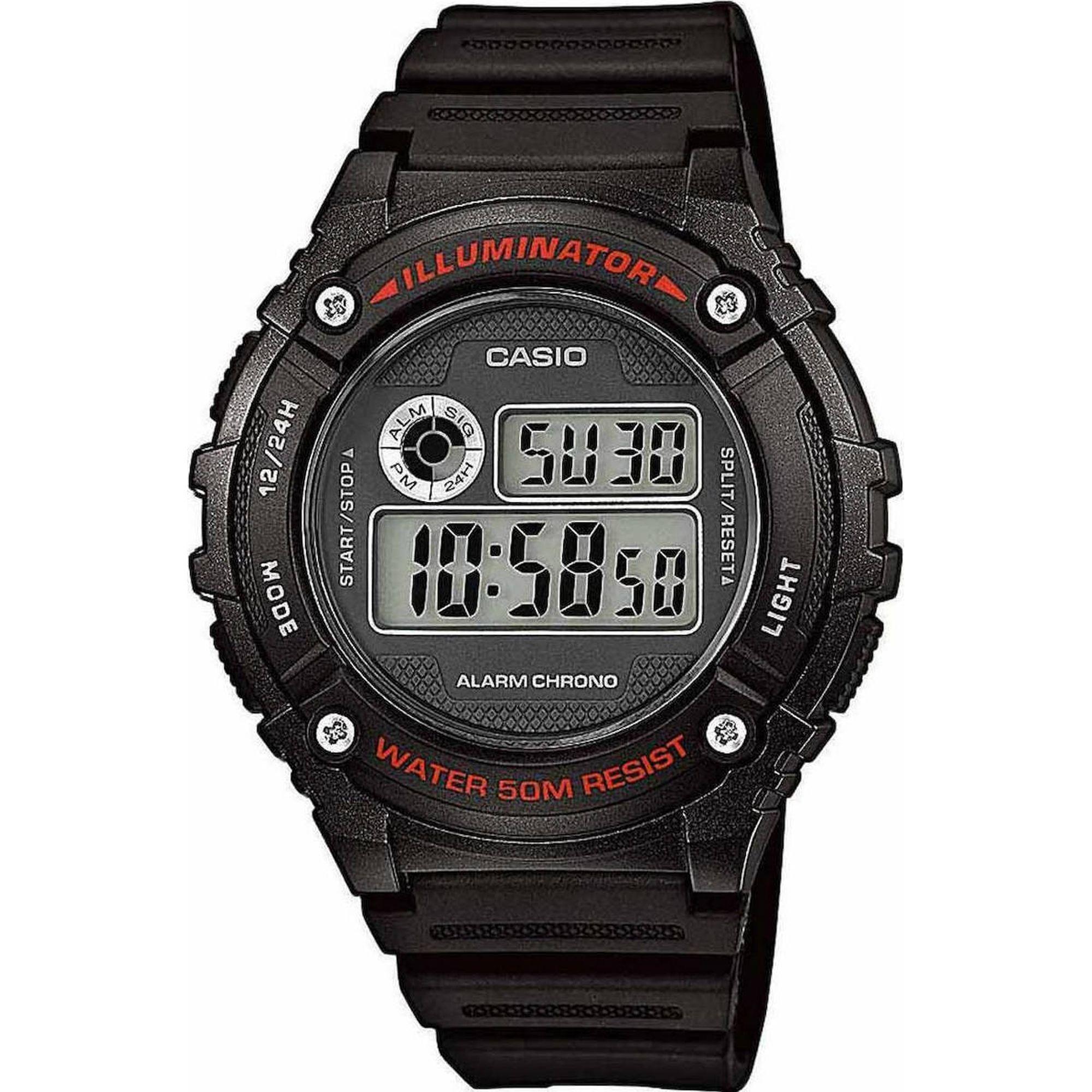 Ρολόι, Casio ρολόι, Casio Ρολόι με Μαύρο Κουστούκ Λουράκι W-216H-1AVEF