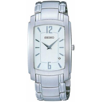 Seiko Aνδρικό Ρολόι με Λευκό Καντράν SKP283P1