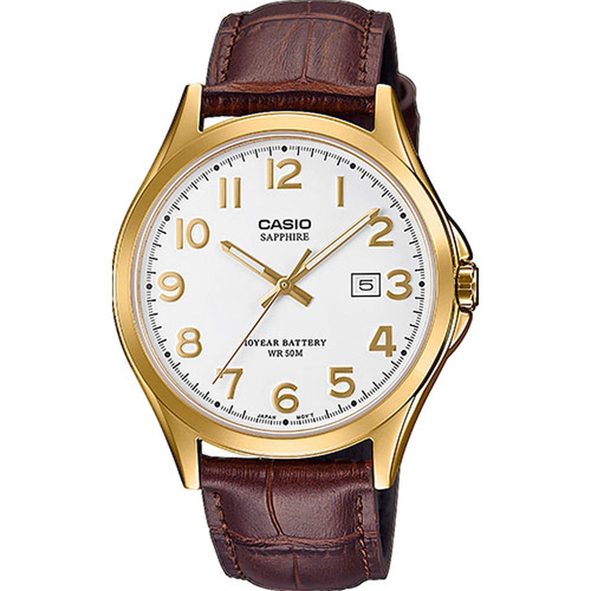 Casio Standard Sapphire με Καφέ Δερμάτινο Λουράκι MTS-100GL-7AVEF