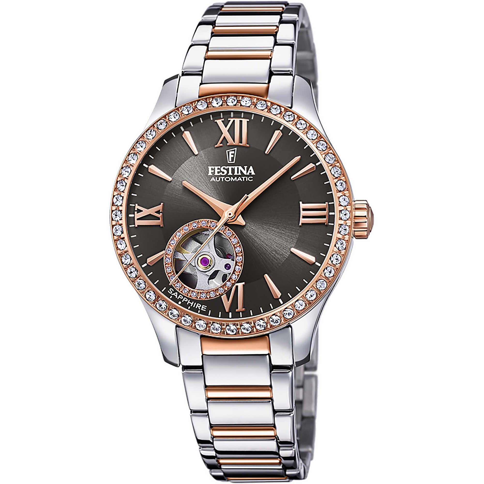 Ρολόι Festina Αυτόματο με Δίχρωμο Μπρασελέ F20487/2 + Δώρο Βραχιόλι