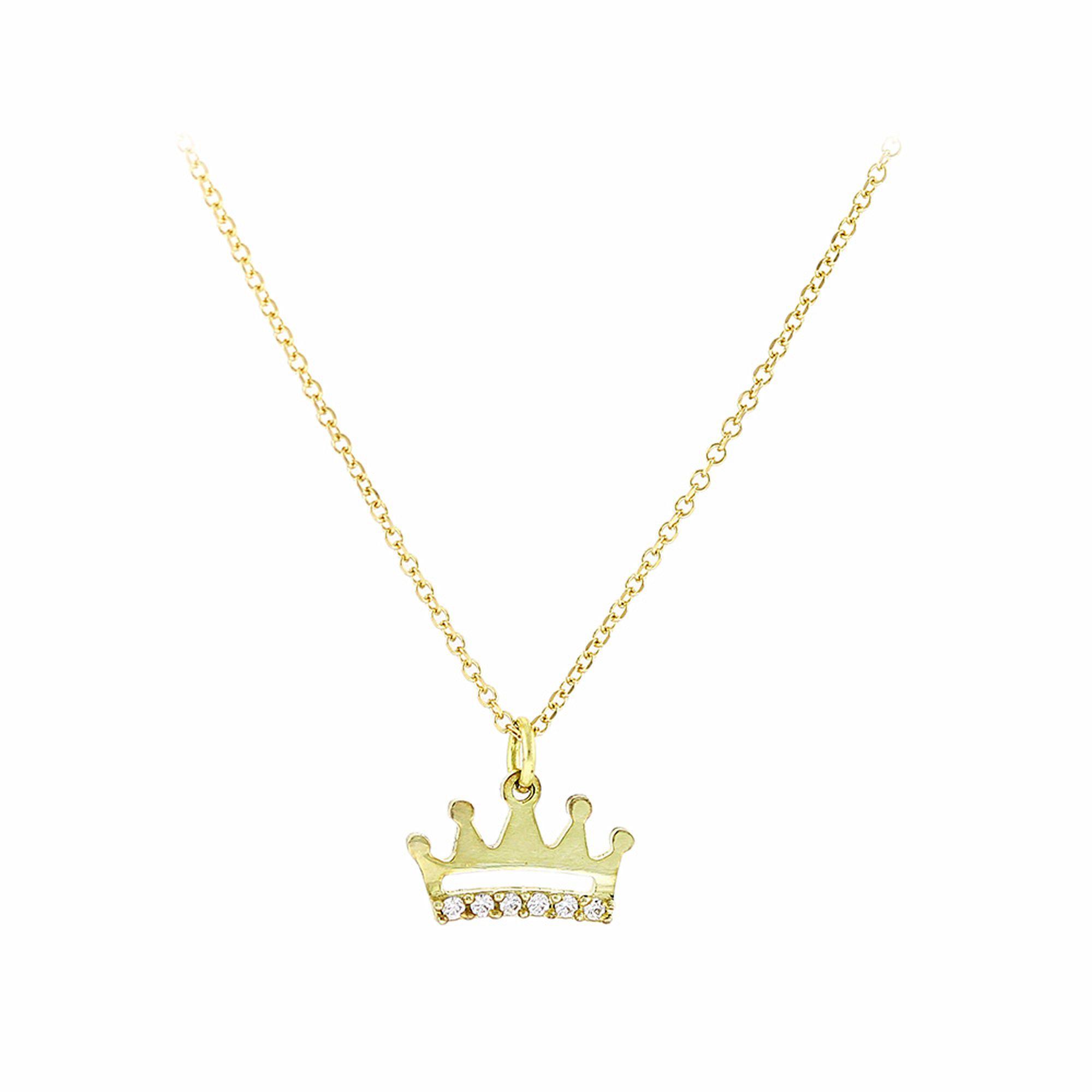 Χρυσό Κολιέ με Κορώνα και Πέτρες 9 Καράτια