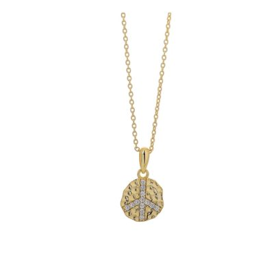 Ασημένιο Κολιέ 925 με το Σήμα της Ειρήνης σε Κίτρινο Χρυσό , Κολιέ, Ασημένιο κολιέ, Κολιέ σε κίτρινο χρυσό, Ασήμι 925, Δωρεάν μεταφορικά