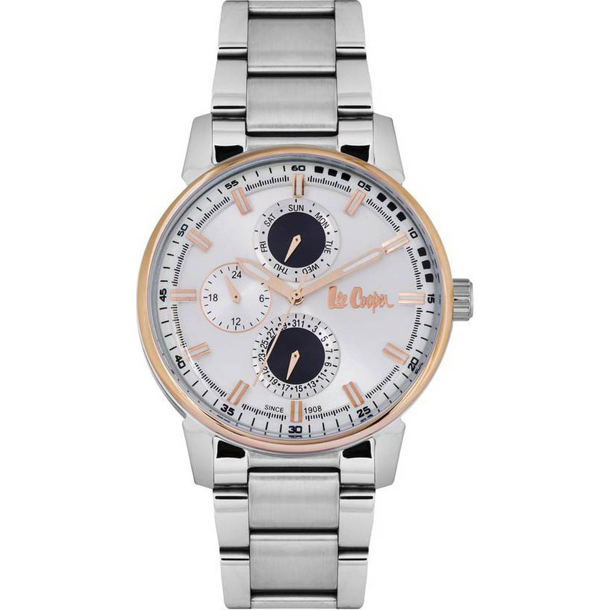 Lee Cooper Ρολόι 44mm Λευκό Καντράν και Μπασελέ LC06581.530, ρολόι, ρολόγια, Ανδρικά ρολόγια, Lee Cooper,Δωρεάν μεταφορικά