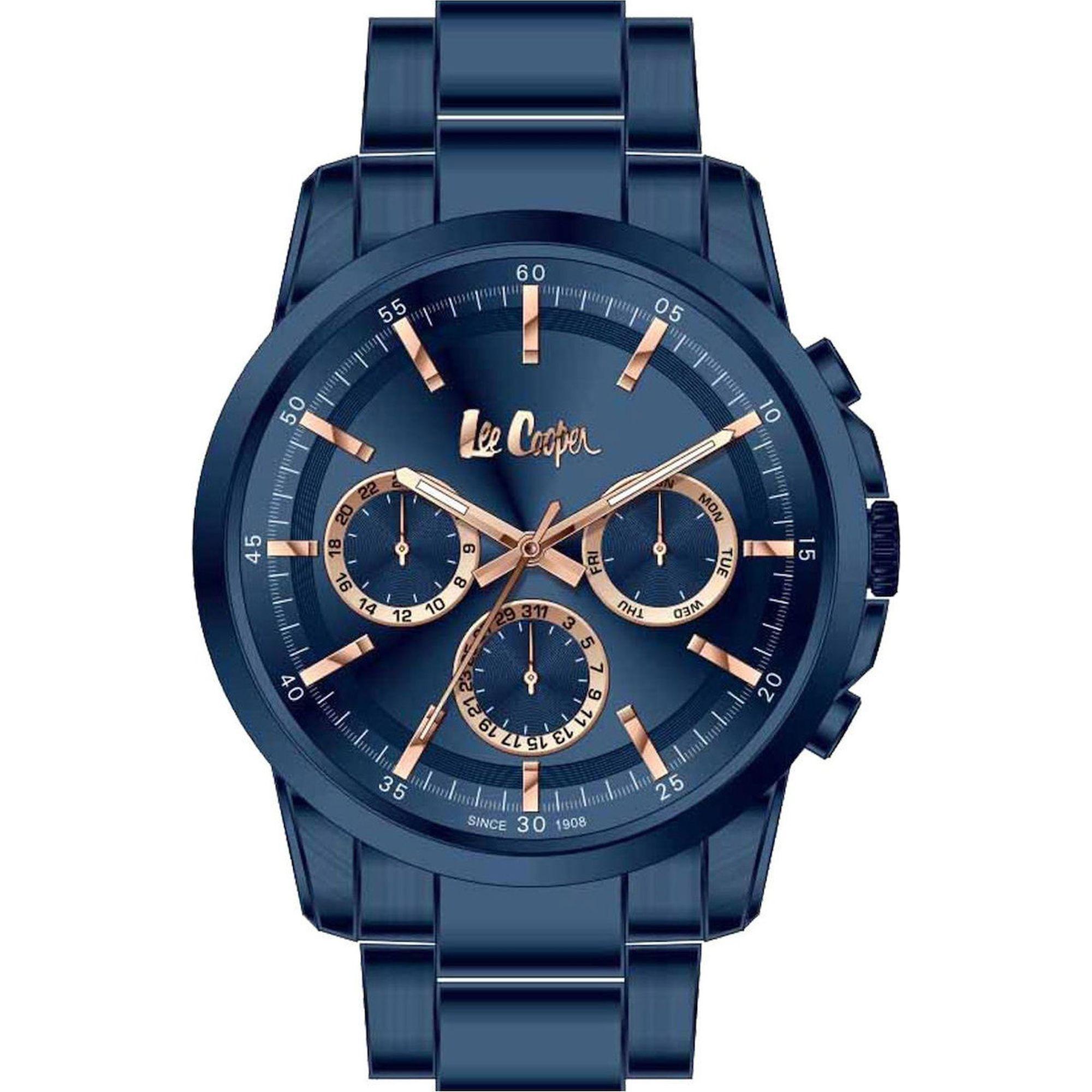 Lee Cooper Ρολόι 43mm Μπλέ Καντράν και Μπρασελέ LC06847.990