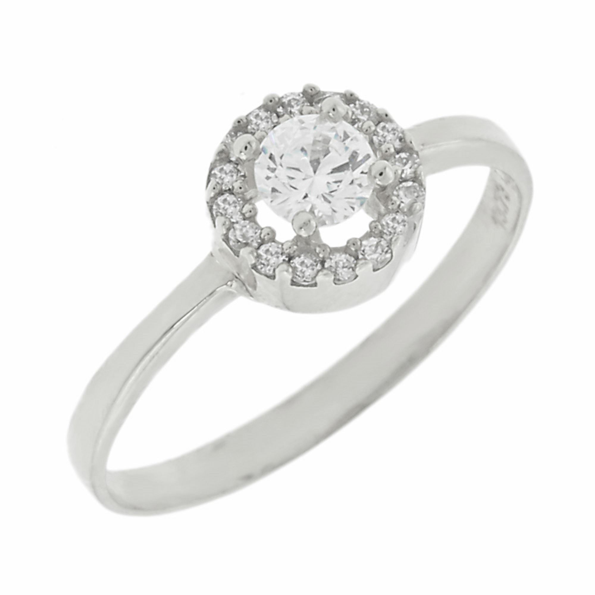 Δαχτυλίδι Λευκόχρυσο με Πέτρες Ζιργκόν 9 Καράτια