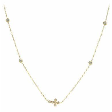 Χρυσό Κολιέ με Σταυρουδάκι και Πέτρες 9 Καράτια