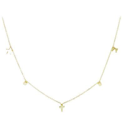 Χρυσό κολιέ 9 καρατίων από κίτρινο χρυσό, στολισμένο με διάφορα στοιχεία όπως φιόγκους, αστέρια και σταυρό.