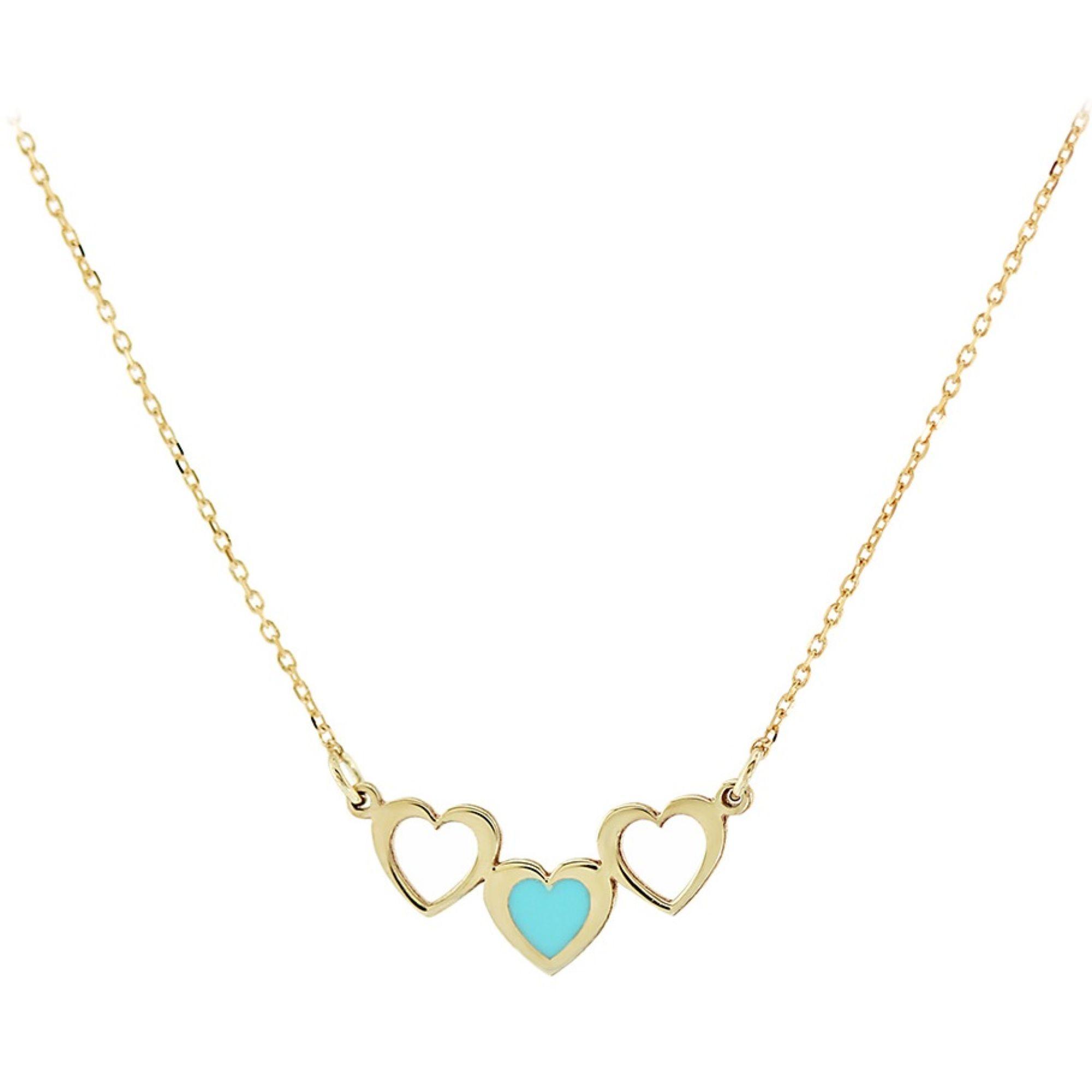 Χρυσό κολιέ 9 καρατίων από κίτρινο χρυσό, στολισμένο με 3 καρδιές.
