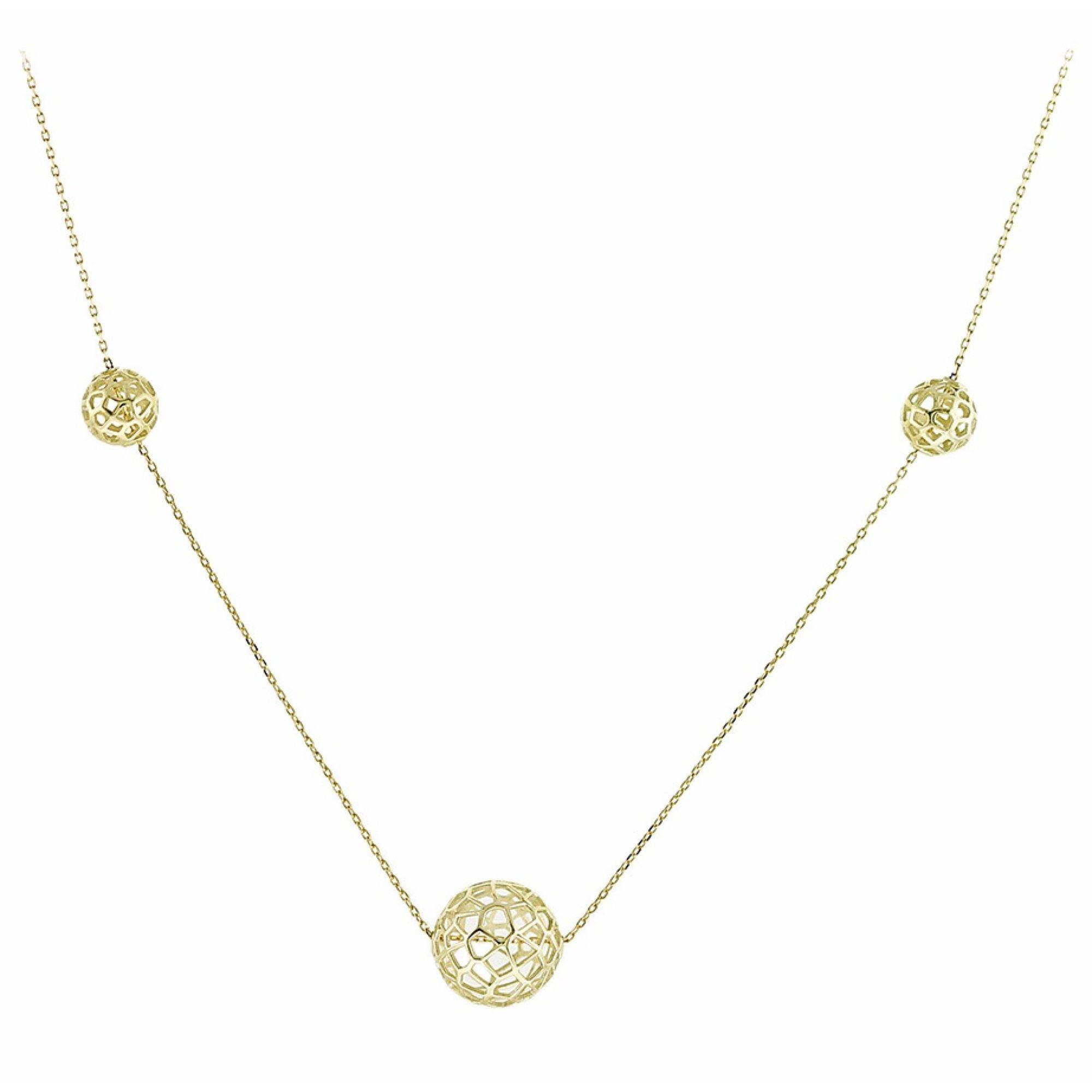 Χρυσό κολιέ 9 καρατίων από κίτρινο χρυσό με 3 στρόγγυλα στοιχεία.